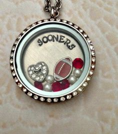 """Living locket, Memory locket large stainless steel for the Oklahoma Sooners fans comes with 32"""" stainless steel chain on Etsy, $46.00"""