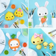 cute Easter ideas inspiration chicken chickens chick duck bunny carrot cake toppers figure figurine kids crafts fun project for kids cake decorating sugar craft art hobby girl boy Crumb Avenue Fondant Flower Cake, Fondant Bow, Fondant Cakes, Fondant Figures Tutorial, Cake Topper Tutorial, 5 Minute Crafts Videos, Craft Videos, Chocolate Work, Chocolate Fondant