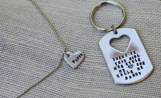 Tochter-Vater-Geschenk-Schlüsselanhänger-Herz-Kette