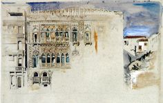 John Ruskin, The Casa d'Oro, Venice, 1845.Pencil and watercolour with bodycolour, 33 x 47.6 cm    Source: Robert Hewison, Ruskin, Turner and the Pre-Raphaelites, 2000.
