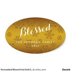 Personalized Blessed Oval Gold Snowflakes Stickers
