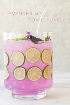 Lavender Gin and Tonic Punch #cocktail #lavender #purple #punch #ginandtonic #gin #spring #babyshower #brunch #drinks
