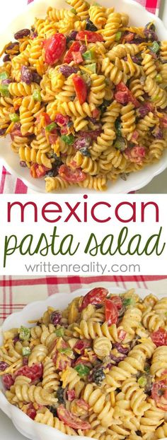 Easy Mexican Pasta Salad : You'll love this quick and easy taco pasta salad recipe. It's easy to toss together and serve on busy weeknights. A potluck favorite your whole family will love! Easy Vegetarian Recipe