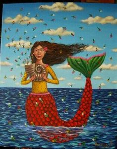 "Mexican Painting Folk Art ""The Mermaid and Her Shell"" German Rubio Fantasy Mermaids, Unicorns And Mermaids, Real Mermaids, Mermaids And Mermen, Art Vampire, Vampire Knight, Sirens, Mexican Paintings, Costumes"