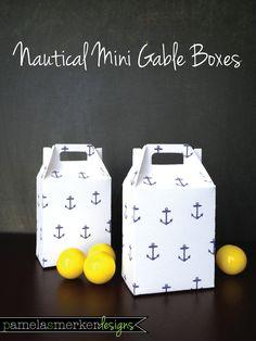 Nautical Mini Gable Favor Box by pamelasmerkerdesigns on Etsy. $2.00, via Etsy.