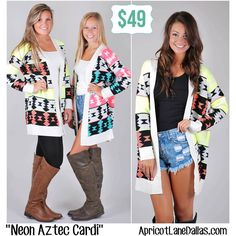 Our All-Time FAVORITE Neon Aztec Cardigans are back in stock in both Lime and Pink!! We love these colors, you definitely need this in your closet for fall! Which color is your favorite? Link : http://www.apricotlanedallas.com/index.cfm?pID=3382#!/~/product/category=6201029&id=26613196