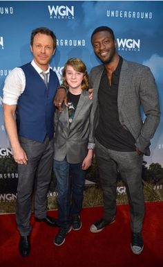 Aldis Hodge, Toby Nichols and PJ Marshall at Red Carpet event for WGN's Underground tv show