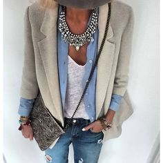 WOW!!! That necklace, tee, button up and distressed jeans =) Don't like the blazer and purse....