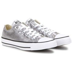 Converse Chuck Taylor All Star OX Metallic Sneakers ($80) ❤ liked on Polyvore featuring shoes, sneakers, silver, silver shoes, metallic shoes, converse footwear, silver metallic shoes and converse trainers