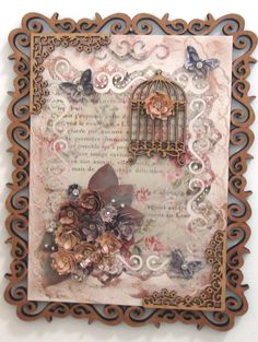 Quadro em MDF revestido com papel craft, apliques em flores feitas a mão, revestidas com apliques em strass. Gaiola e borda em MDF. Pátina em cobre. Decoupage Vintage, Vintage Crafts, New Crafts, Hobbies And Crafts, Diy And Crafts, Paper Crafts, Scrapbook Vintage, Shabby Chic Cards, Printable Crafts