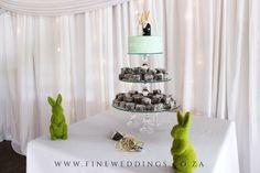 A super cute rabbit themed wedding cake and lamingtons combo.