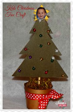 Kid's Christmas Tree Craft. Great to make with little ones, and cute craft for making with the kids in class or for Cub Scout Christmas parties.