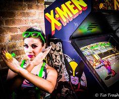 #ArcadePhotoShoot, pow, comic, double dragon, arcade, gamer, nerd, super hero, UrbanOG, Comic book jewelry, Zap, faux hawk, pin up make up, X-Men
