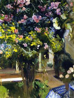 Oleanders in the Patio of the Sorolla House - Joaquin Sorolla y Bastida (Valencia, Spain, Spanish Painters, Spanish Artists, Monet, Georges Seurat, European Paintings, Renoir, Land Scape, Great Artists, Flower Art