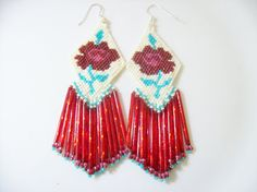Dangle beaded earrings  red rose earrings   by joymakersdesigns