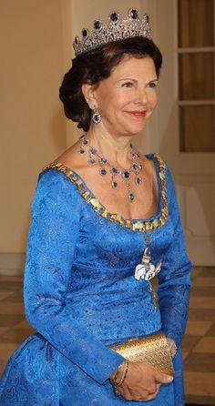Queen Silvia of Sweden attends the Danish Jubilee  Gala Banquet