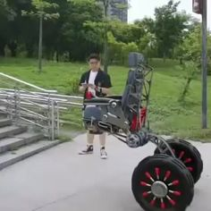 The potential benefit of stair climbing for the millions of people who are wheelchair users is exciting. Order now at slay fitness New Technology Gadgets, Cool Technology, Tech Gadgets, Inventions Sympas, Cool Gadgets To Buy, Cool Inventions, Future Inventions, Future Tech, Mechanical Engineering