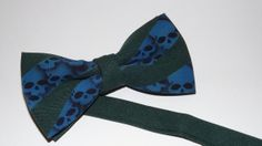 Skull bow tie  hunter green and dark blue by RokGear on Etsy, $26.00
