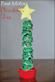 Fine Motor Egg Carton Christmas Tree Activity Christmas Tree craft that is perfect for fine motor skills (neat pincer grasp and tripod grasp & extended wrist needed for handwriting! Recycled Christmas Tree, Preschool Christmas, Noel Christmas, Green Christmas, Christmas Activities, Christmas Crafts For Kids, Christmas Projects, Winter Christmas, Christmas Themes