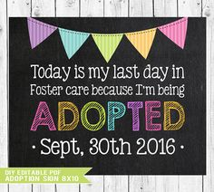 Check out Adoption Sign, Adoption Announcement, Adoption Gifts, Adoption chalkboard, Adoption Printable, Adoption Day, Gotcha Day Sign, YOU EDIT PDF on sugarpickledesigns