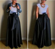 USA-Vintage-Women-Stretch-Flared-High-Waist-Pleated-Swing-Long-Maxi-Skirt-Dress