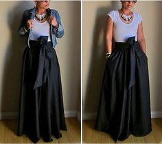 USA-Vintage-Women-Stretch-Flared-High-Waist-Pleated-Swing-Long-Maxi-Skirt-Dress