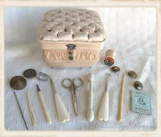 Precious Rare Antique Victorian Pink Silk & Satin Tufted Sewing Box with Original Sewing Tools