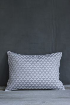 Embroidered Grey and White Copenhagen Cushion | Also Home
