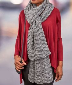 Wavy Ridge Super Scarf - free crochet pattern by Heather Lodinsky for Red Heart. Aran weight.