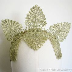 Gold Lace Crown 1920s Gatsby inspired by Missie77artJewellery