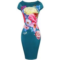 $18.20 Cap Sleeve Floral Print Bodycon Dress