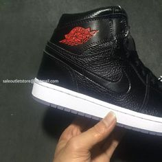 the latest a4409 55aa1 New Nike Air Jordan 1 All Black Leather With Red Jordan Logo Men Shoes -  Mens.