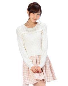 Ribbon collar knit pullover | Tops | Tralala (To~urara) | Tokyo Kawaii Life