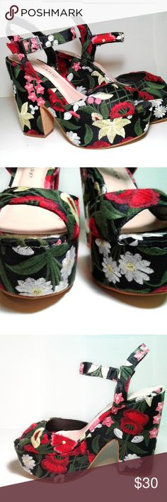 Mule Strappy Heel This Dolce Gabbana inspired heel were designed in Ireland. They are soft to the touch and look effortlessly gorgeous. The color base of the mule heel is black and  had drawings of flowers and green leafs. The heel is 2.5 inches high. Primark Shoes Mules & Clogs