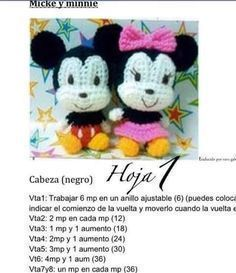 Los Amigus de Paloma: Mickey y Minnie Amigurumi (Patrón Gratis)