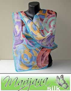 Colorful stone Art.356Handmadepure silk silk paint by MarijanaSilk