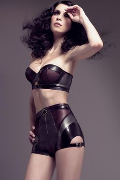 Latex lingerie set designed by Joy Williams in limited edition, exclusively available at Mise en Cage private boutique in Paris and on their website www.misencage.com.