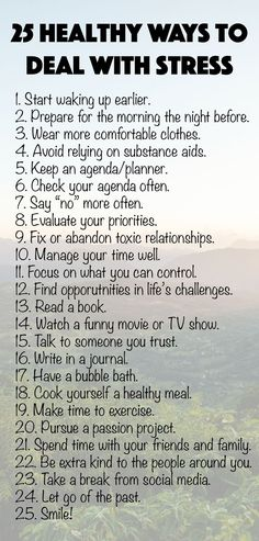We all get stressed out sometimes, and we need to make sure we cope with our feelings in productive ways. Try one of these 25 healthy ways to deal with stress! Read the full post for more ideas. Informations About 25 Healthy Ways to Deal with Stress[. Coping With Stress, Dealing With Stress, How To Relieve Stress, How To Manage Stress, Reduce Stress, Anxiety Tips, Stress And Anxiety, Anxiety Coping Skills, Ways To Help Anxiety
