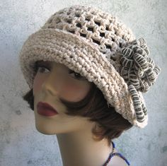 Crochet Pattern Womens Brimmed Summer HAT Cloche With Trim  Very easy and very quick to make- skill level for begnining and above  A very versatile