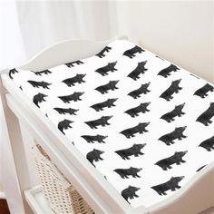 Gray Painted Bear Changing Pad Cover | Carousel Designs