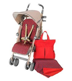 Maclaren Towne & Country Techno XT StyleSet: Techno XT Stroller, Scarlet-Chain Link Smart Set and Cup Holder.