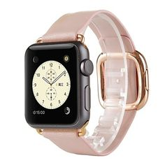 Rose+Gold+Modern+Buckle+Genuine+Leather+Watch+Band+Strap+for+Apple+Watch+38MM+Women+–+USD+$+43.99