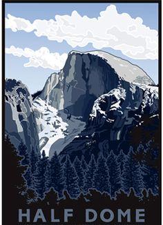 Half Dome, Yosemite, California, Jake Early serigraph