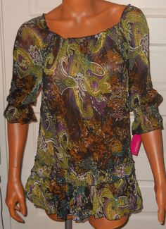 Xhilaration Peasant Top SZ L Shirt Black Green Purple Sheer Floral Boho Hippie #Xhilaration #BOHOPeasant #Many