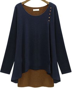 Navy Long Sleeve Buttons Loose Modal T-Shirt 16.50