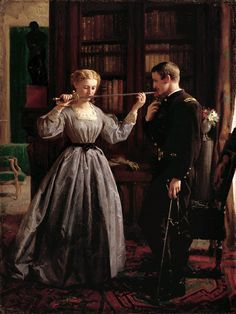 *GEORGE COCHRAN LAMDIN~The Consecration [1861],a photo by Gandalf\'s Gallery.Although farewell rituals were enacted in numerous homes during the Civil War, artists rarely depicted them.In Lambdin\'s portrayal,a woman kisses her husband\'s sword as an oath of honour,declaring her loyalty to him+her commitment to the nation\'s good.