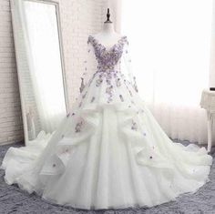 Cheap bridal gown, Buy Quality lace bridal gowns directly from China flower wedding dress Suppliers: Loverxu Vestido De Noiva Long SLeeve Flowers Wedding Dresses 2018 Appliques Beaded Ruffles A Line Lace Bridal Gown Plus Size Wedding Dresses With Flowers, Wedding Dresses 2018, Wedding Dress Train, Cheap Wedding Dress, Gown Wedding, Quinceanera Dresses, Sweet 16, Banquet Dresses, Fantasy Gowns