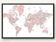 Pink watercolor world map with cities as framed push pinboard peony framed print highly detailed world map in dusty pink and grey watercolor piper gumiabroncs Image collections