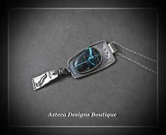 Above~ Natural Blue Diamond Turquoise Argentium Silver Inviciti Pewter Bird Charm Hand Forged Pendant Necklace  by AztecaDesignsBoutique, $259.00 USD