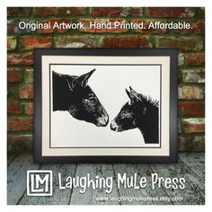 Discover affordable, original equine and canine inspired art.   I design, draw, carve, and print each piece by hand in my home studio. Each print is unique due to the handmade nature of the product. This insures that your artwork is one of a kind.  This print is inspired by full brothers, Coulter and Cooper. Coulter was two years old in the print and Cooper was two months old. This was one of the first times they were together. Coulter was very sweet, and Cooper was very curious.